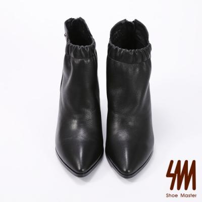 SM-素面尖頭縮口帥氣短靴