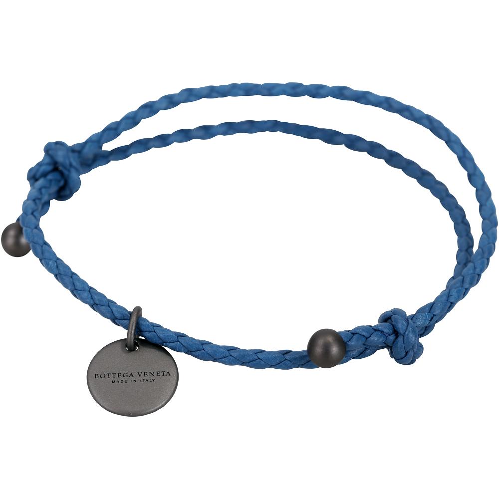 BOTTEGA VENETA 編織小羊皮調整式手環(藍色)