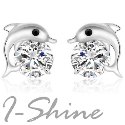 I-Shine-海豚愛戀-正白K-海豚與水晶造型耳環DB16