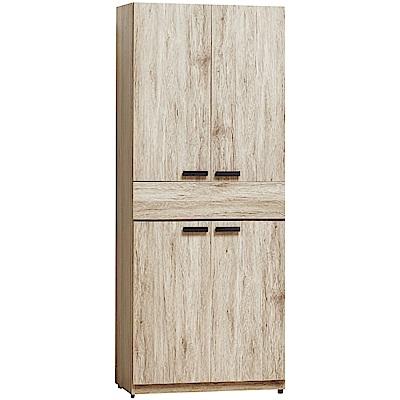 文創集 利森時尚2.5尺四門單抽衣櫃/收納櫃-76x57.5x197cm免組