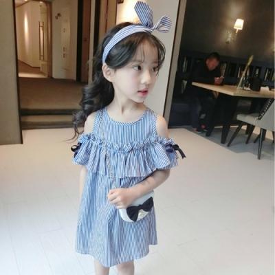 小衣衫童裝 小清新藍白條紋荷葉連身裙1060416