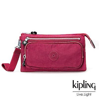 Kipling莓紫素面掛繩手拿包(小)