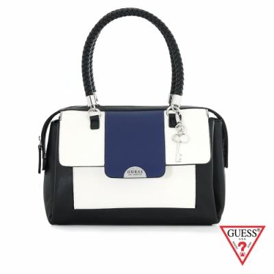 GUESS-女包-撞色拼接編織提袋手提包-藍 原價3690