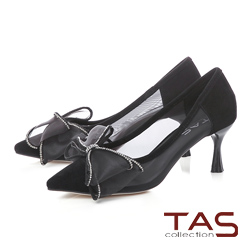 TAS透膚感網紗蝴蝶結尖頭跟鞋-經典黑