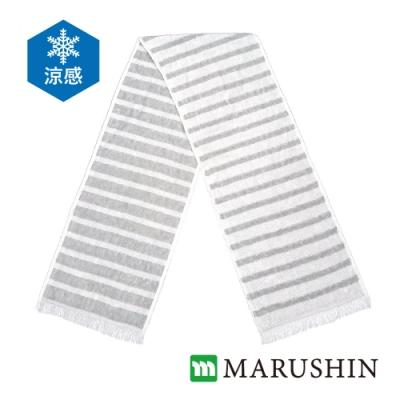 日本丸真 Eco de COOL 涼感運動毛巾 灰色條紋