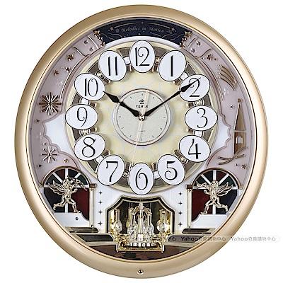 POWER霸王鐘錶-歐洲城堡魔幻音樂鐘-華麗金-PW-6256-ARMKS1-46.7CM