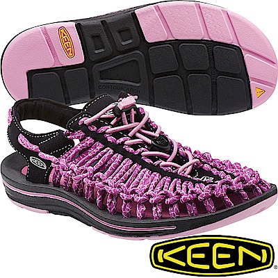 KEEN 1014637紫/黑 Uneek 女專業戶外護趾編織涼鞋