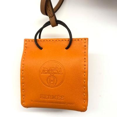 HERMES VIP限量紙袋造型拼色小羊皮鑰匙圈/吊飾(經典橘)