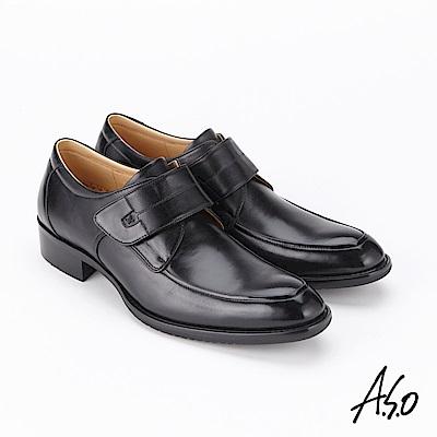 A.S.O 菁英霸足 魔鬼氈牛皮奈米紳士鞋 黑
