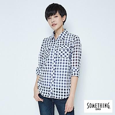SOMETHING 休閒隨性格紋襯衫-女-黑色