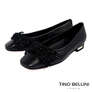 Tino Bellini冬日毛料蝴蝶結全真皮小方頭娃娃鞋_黑