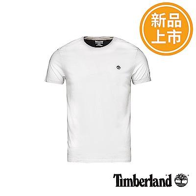 Timberland 男款白色圓標LOGO修身短袖T恤