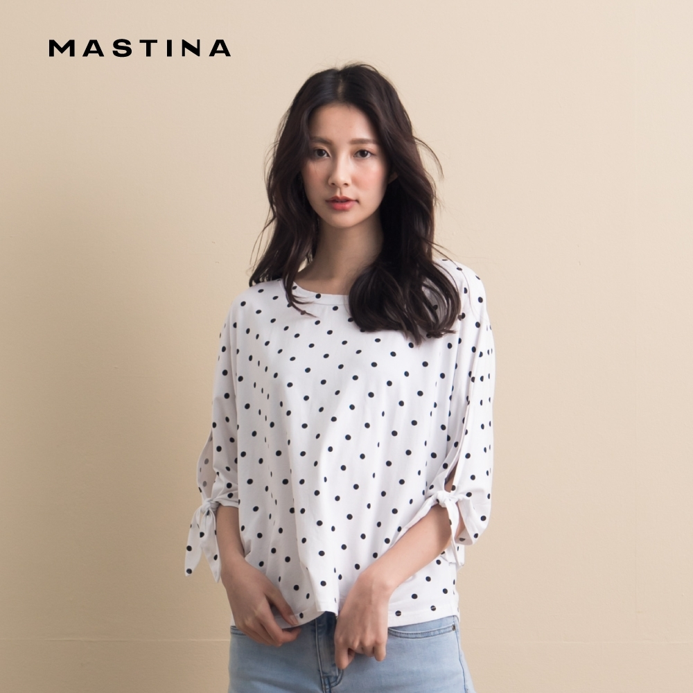 【MASTINA】氣質點點綁結袖口-上衣(白色)