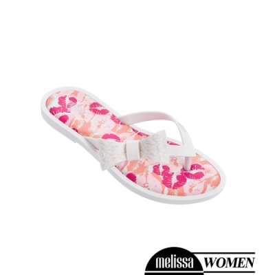 Melissa 蝴蝶結造型印花涼拖鞋-白