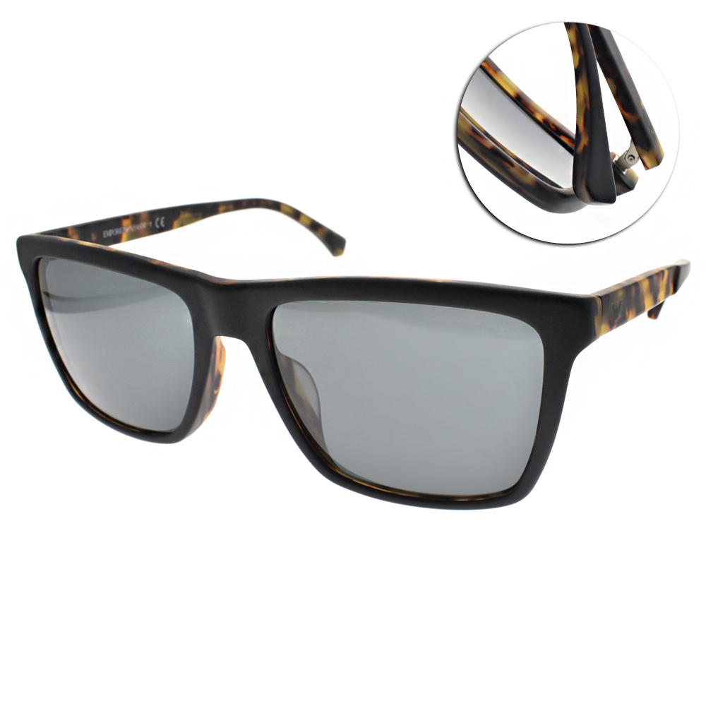 EMPORIO ARMANI太陽眼鏡 百搭個性方框/黑-琥珀#EA4117F 570187