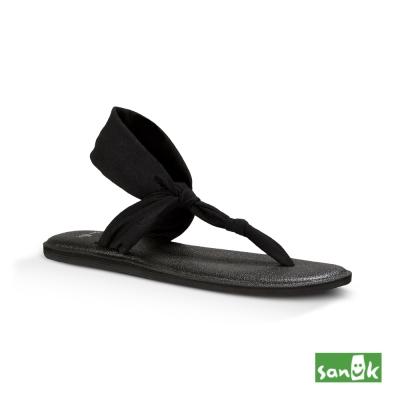 SANUK 輕量設計瑜珈墊人字涼鞋-女款(黑色)