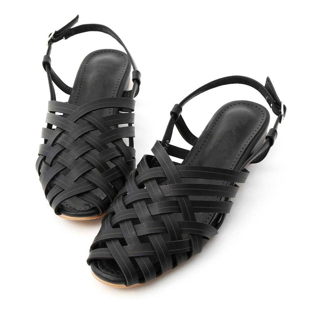 D+AF 古著韓風.多層次交叉低跟編織涼鞋*黑