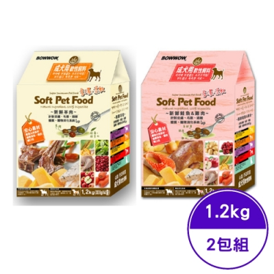 BOWWOW 成犬用軟性飼料 (羊肉/鮭魚+雞肉) 1.2Kg (300gX4bags) (2包組) (41-473/41-474)