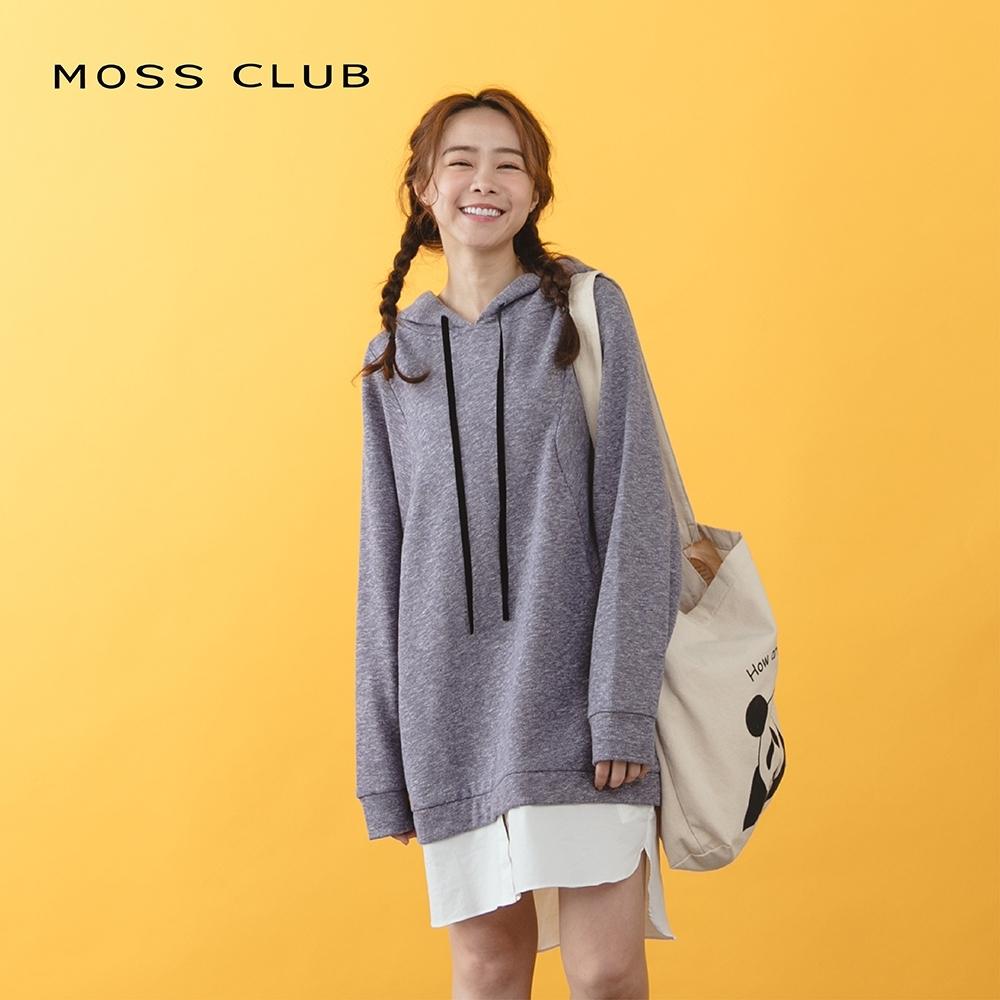 【MOSS CLUB】休閒風假兩件式連帽長袖-連身裙(二色)
