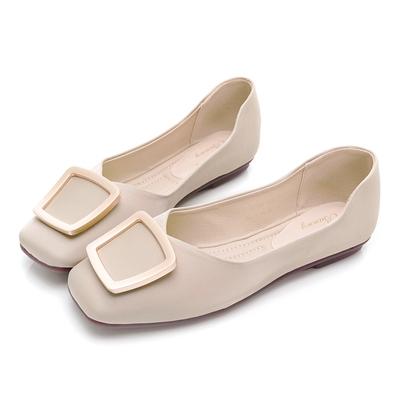 PLAYBOY 優雅浪漫 顯瘦方頭平底鞋-米-Y730933