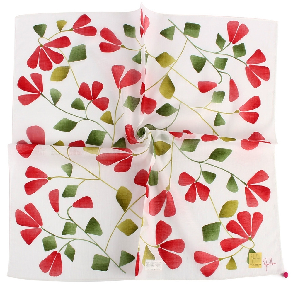 Sybilla 優雅花藤純綿帕巾領巾-紅花/白色