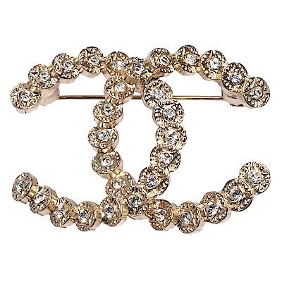 CHANEL 經典雙C LOGO水鑽鑲嵌圈點飾邊造型胸針(金)