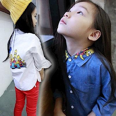 小衣衫童裝   男女童翻領卡通印花長袖襯衫1040825