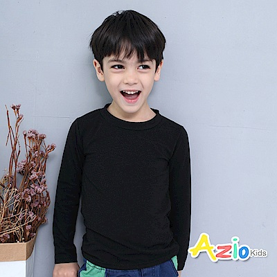Azio Kids 上衣 磨毛立領基本款保暖衣(黑)