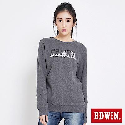 EDWIN 太空競賽太空銀河LOGO厚長袖T恤-女-黑灰