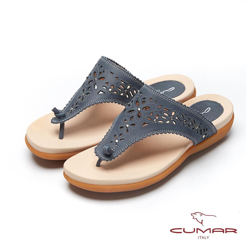 CUMAR普羅旺斯莊園- 雷射沖孔雕花夾腳拖鞋-藍