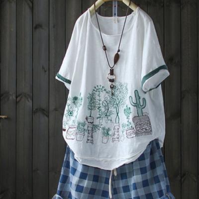 拼色破洞卷邊刺繡竹節棉純棉t恤寬鬆上衣-設計所在