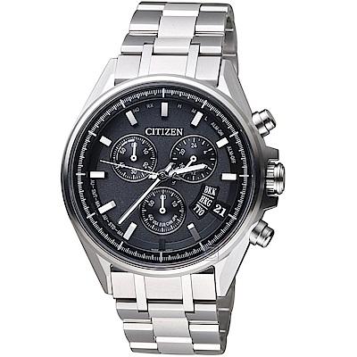 (無卡分期12期)CITIZEN星辰全球電波光動能限量鈦金屬腕錶(BY0140-57E)-黑灰