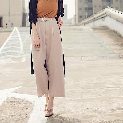 高含棉造型腰帶後腰鬆緊打褶寬褲-OB大尺碼