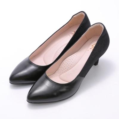 SM-獨特有型OL尖頭細跟蛇紋羊皮淑女鞋-2色