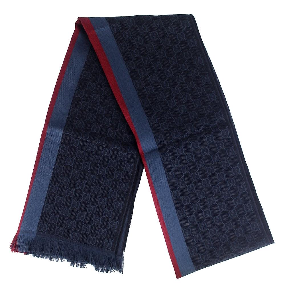 GUCCI 藍色經典條紋 G LOGO羊毛混紡圍巾