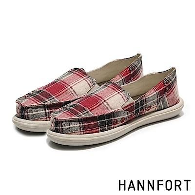 HANNFORT COZY毛呢格紋氣墊懶人鞋-女-格紋紅