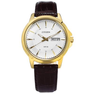 CITIZEN 簡約 星期日期 礦石強化玻璃 亮面真皮手錶-銀x金框x深褐/41mm