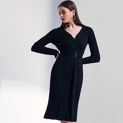 AIR SPACE LADY 親膚綁帶合身針織洋裝(附腰帶)(黑)