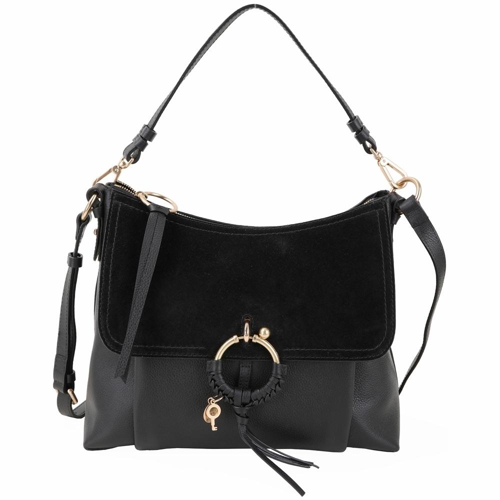 SEE BY CHLOE Joan 中型編織金屬環拼接皮革手提/肩背包(黑色)