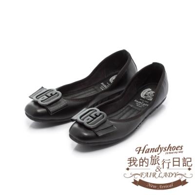 FAIR LADY 我的旅行日記-口袋系列G型飾釦帶皮革方頭平底鞋 黑