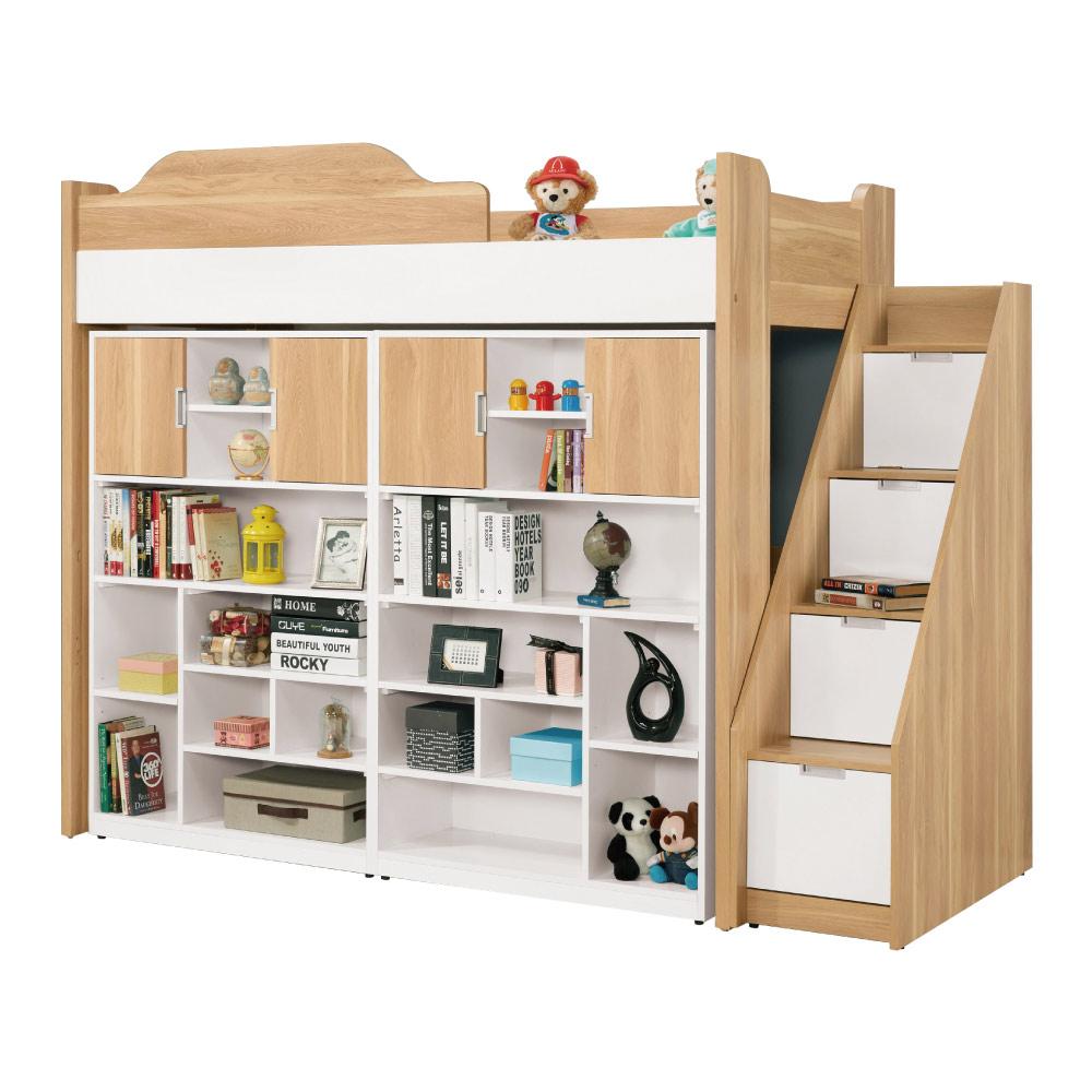 文創集 迪亞3.5尺床台(單人床台+雙開門櫃+不含床墊)-112x235x180cm免組