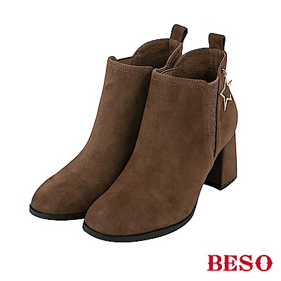 BESO 歐美都會 耀眼星星飾釦短靴-灰褐