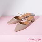 Grace gift-一字繫帶後空中跟鞋 卡其