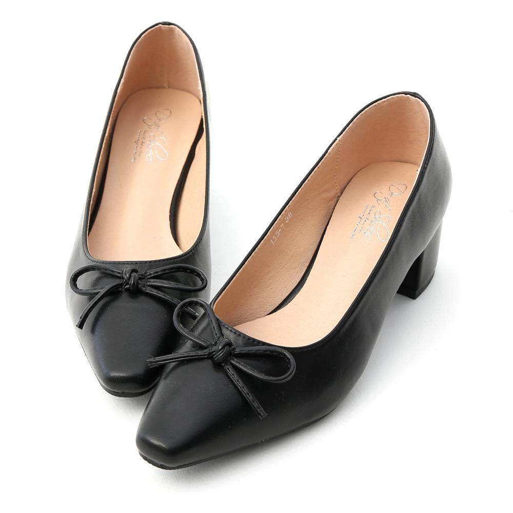D+AF 優雅舞伶.蝴蝶結尖頭中跟芭蕾鞋*黑