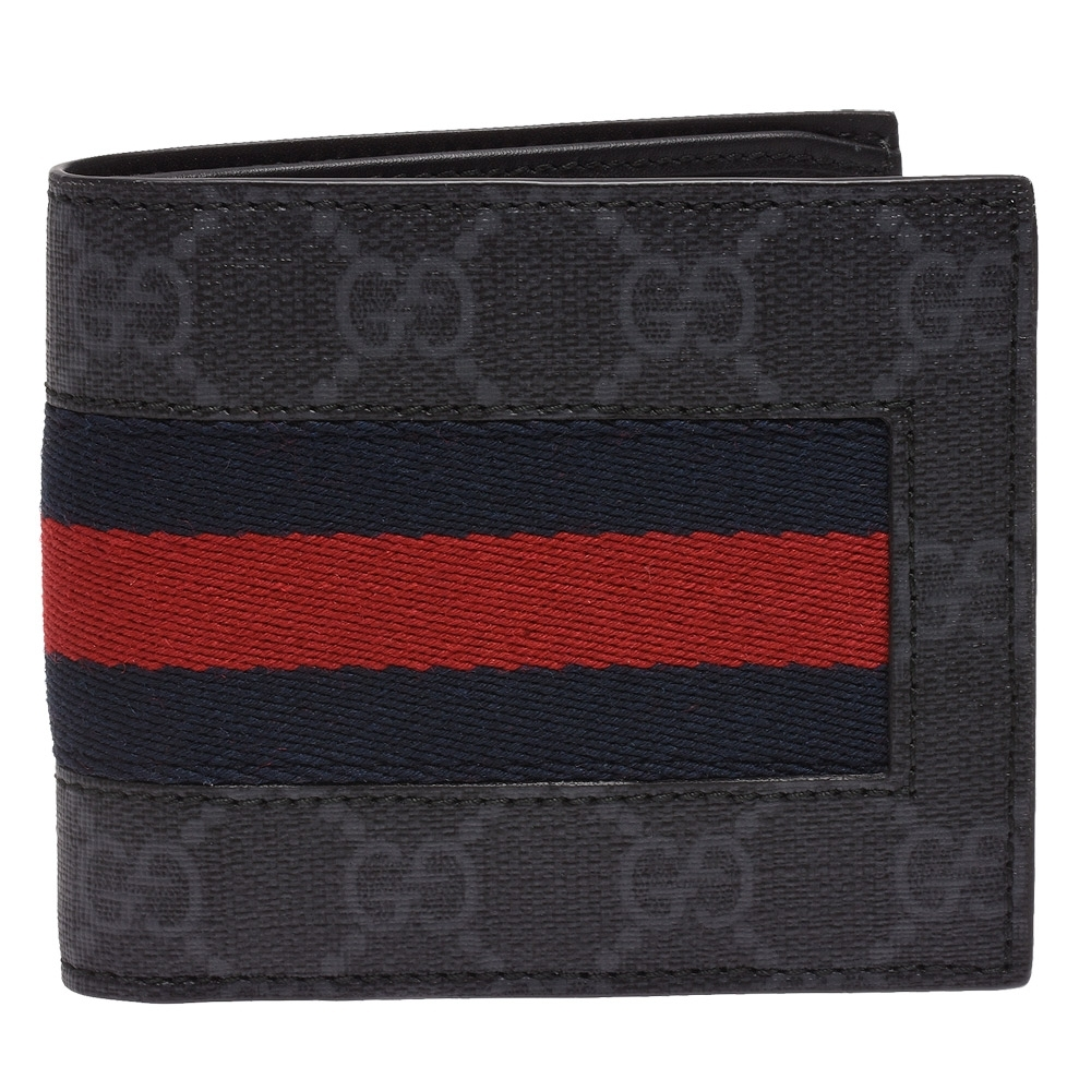 GUCCI 經典GG Supreme系列GG印花藍紅藍織帶折疊短夾(灰-8卡)