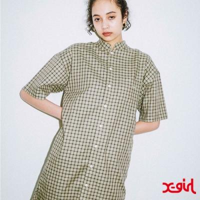 X-girl MAO COLLAR PLAID DRESS OVERSIZE襯衫-亮綠