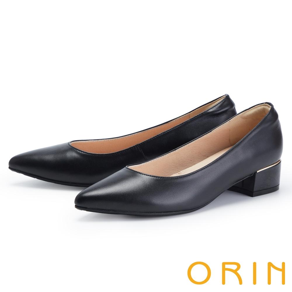 ORIN 氣質真皮尖頭金屬條 女 低跟鞋 黑色