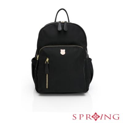 SPRING-經典質感系列防盜尼龍後背包-經典黑