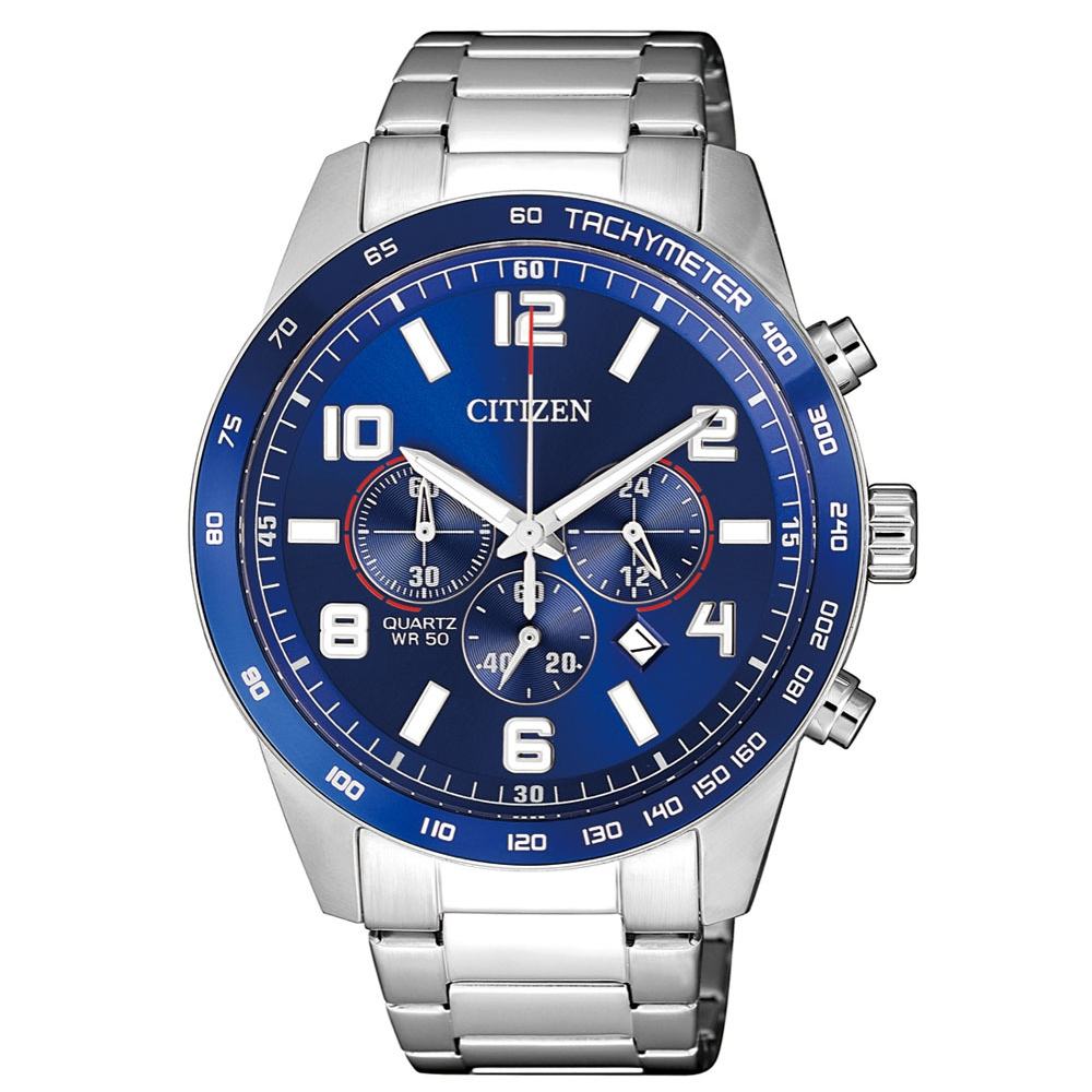 CITIZEN星辰 三眼計時運動經典計時錶(AN8161-50L)