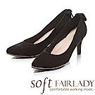 Fair Lady Soft芯太軟 尖頭高雅素色蝴蝶結鞋尾高跟鞋 黑